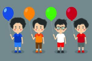 caratteri del bambino ragazzo felice che tengono palloncini