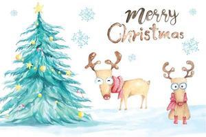 albero di Natale e renne dipinte con acquerello vettore