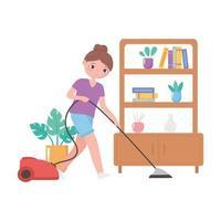 ragazza che pulisce con l'aspirapolvere in soggiorno vettore