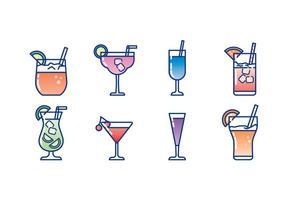 Bicchiere di Cocktail Icon Set vettore