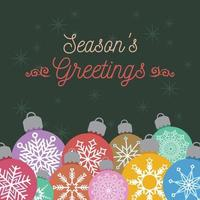 auguri di Natale con palline colorate vettore