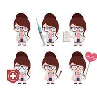mascotte medico femminile caucasico in varie pose