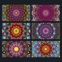 raccolta di banner mandala ornamentali colorati