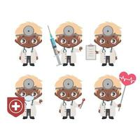 mascotte medico maschio afroamericano in varie pose