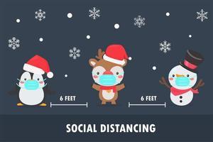 pinguino, renna e pupazzo di neve indossano maschere e distanza sociale