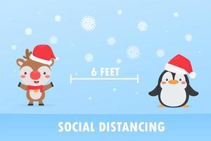 renna e pinguino allontanamento sociale per prevenire il coronavirus vettore