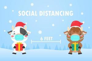 mucche che tengono scatole regalo allontanamento sociale nella scena invernale vettore