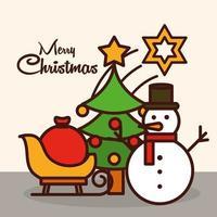 composizione natalizia con icone di linea