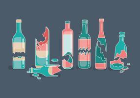Vettori di bottiglia rotta rosa e verde acqua