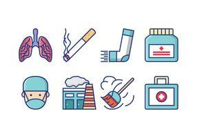 Asthma Symptoms Icon Pack vettore