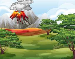 eruzione del vulcano nella scena della foresta naturale durante il giorno