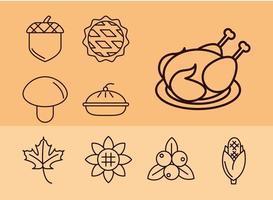 set di icone di celebrazione del giorno del ringraziamento