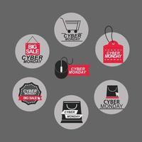 set di icone di vendita cyber lunedì