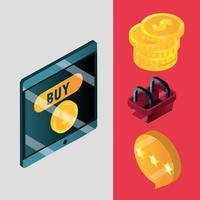 set di icone isometriche di shopping online ed e-commerce