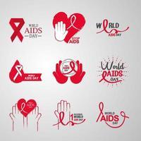 collezione di icone di consapevolezza della giornata mondiale contro l'AIDS