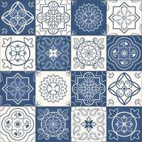 motivo patchwork senza soluzione di continuità di piastrelle marocchine blu e bianche