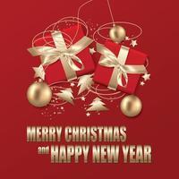 poster di natale con doni e ornamenti in rosso e oro vettore
