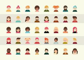 set di icone avatar di persone diverse