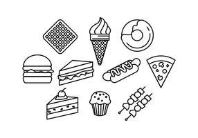 Linea cibo icone vettoriali