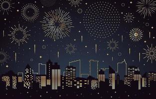 scenario di fuochi d'artificio sopra una silhouette di edifici della città
