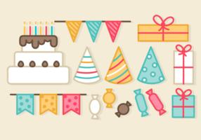 Elementi gratuiti di festa di compleanno vettore