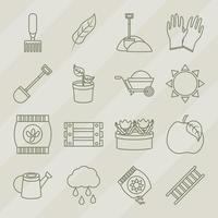 collezione di icone line-art di giardinaggio e raccolta