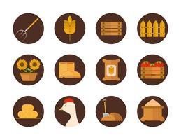 set di icone piatte agricoltura e allevamento