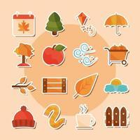 set di icone adesivo stagione autunnale