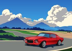 Auto da corsa nel vettore di montagne
