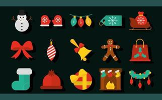 collezione di icone piatte di Natale