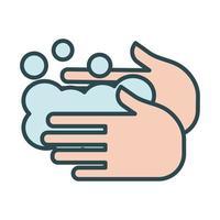 mani che lavano l'icona di stile di riempimento