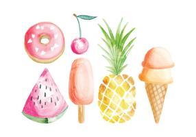 Elementi di cibo estivo dipinto a mano di vettore