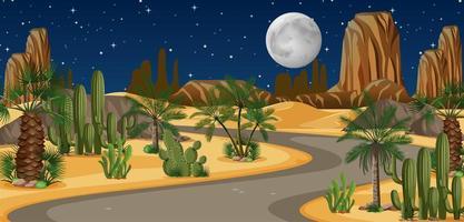 oasi nel deserto con un lungo paesaggio di strada vettore