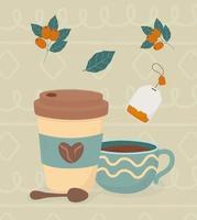 composizione della bevanda all'ora del tè e del caffè vettore
