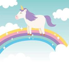 personaggio dei cartoni animati di unicorno magico con arcobaleno vettore