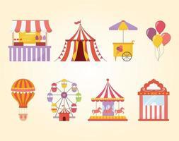 insieme dell'icona di ricreazione di luna park, carnevale e intrattenimento vettore