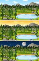 set di scene di paesaggi forestali e montani