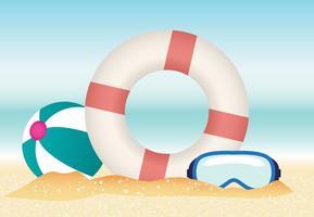 Summer Beach with Lifesaver Vector
