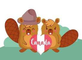 castori canadesi per la celebrazione del giorno del canada vettore