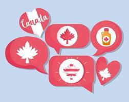 icone canadesi per la celebrazione del giorno del canada