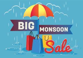 Poster di vendita per la stagione dei monsoni con gocce di pioggia con shopping bag e ombrello