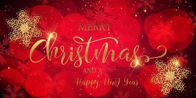 banner di Natale con fiocchi di neve scintillanti e testo decorativo