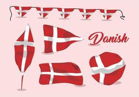 Insieme ondulato di vettore della bandiera danese