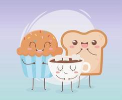 composizione del personaggio dei cartoni animati di cibo kawaii vettore