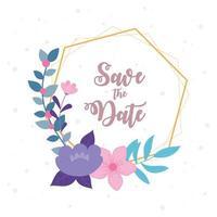 elegante modello di carta di nozze floreale vettore