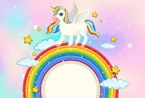 striscione bianco a forma di arcobaleno con disegno di unicorno vettore