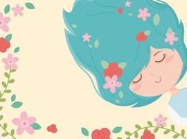 banner con giovane donna e fiori