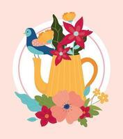 composizione floreale con uccello vettore