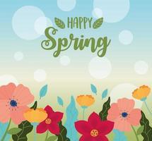 felice primavera celebrazione sfondo banner vettore