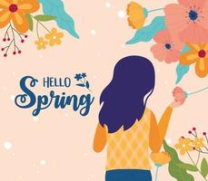 ciao banner di celebrazione di primavera con donna e fiori vettore